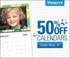 Vistaprint Custom Calendar Deal - 50% Off custom calendars!