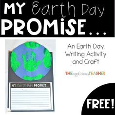 Earth Day Writing and Handprint Earth Craft Free Earth Day Activities, Writing Activities, Craft Activities, Teaching Resources, Earth Day Tips, Earth Craft, Spring Words, Easy Writing, Kindergarten Writing