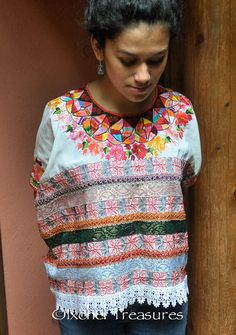 VINTAGE Guatemalan Huipil Blouse Authentic Mayan Textile ~ Aguacatán Gypsy Boho Top