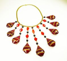 Art Deco Necklace Czech Glass Red Black Egyptian by zephyrvintage, $375.00