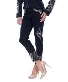 Another great find on #zulily! Navy Black Studded Straight-Leg Jeans #zulilyfinds