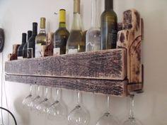 Reclaimed wood wine rack with stem holder