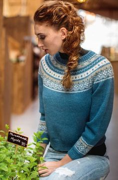 Dale Garn Urban Retro 320 knitting pattern for Flamingo pullover nordic yoke Fair Isle Knitting Patterns, Fair Isle Pattern, Sweater Knitting Patterns, Knitting Designs, Knit Patterns, Baby Knitting, Knitting Sweaters, Pullover Outfit, Nordic Sweater