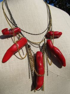 Coral MutliStrand Mixed Metal Statement Necklace by GraysGallery, $112.00