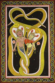 Kayena Vāca – Yoga Sūtra Chanting Closing Prayer with Translation Murals Street Art, Indian Gods, Indian Art, Traditional Paintings, Traditional Art, Tantra Art, Closing Prayer, India Painting, Snake Art