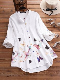 Colorful Butterflies Print Long Sleeve Shirt For Women look not only special, but also they always show ladies' glamour perfectly and bring surprise. Come to NewChic to choose the best one for yourself! Blouses For Women, Pants For Women, Plus Size Maxi Dresses, Lace Dresses, Party Dresses, Mode Hijab, Butterfly Print, Plus Size Blouses, Casual T Shirts