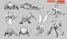 """Vile minions of canceled monster for Evolve known as """"The Host"""" These parasites were meant to cruise around the battlefield fighting Hunters like a summoner, more than a brawler. Evolve Monster, Concept Draw, Creature Concept, Nightwing, Creature Design, Fantasy Creatures, Cool Drawings, Game Art, Character Design"""