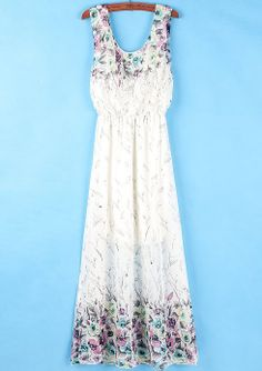 White Sleeveless Floral Pleated Maxi Dress - Sheinside.com