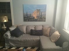 Slipcover for Ikea Moheda brown sofa bed made by Comfort Works!! Grey sofa