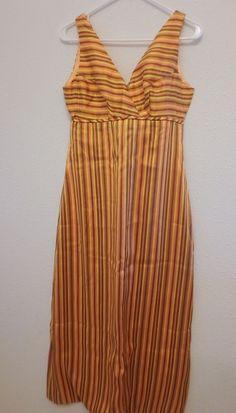 Vintage 60s Orange Stripe Cocktail Mod Sleeveless Long Dress Sz Medium #Handmade #Cocktail #Cocktail