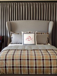 Preppy Bedroom.  Warm plaids are one of Fall 2012's hottest pattern trends.  Add a monogrammed pillow to plump up the prep!