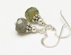Gemstone Earrings Labradorite Sterling Silver by hawaiibeads, $19.00