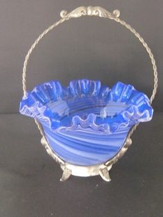Antique Victorian Brides Basket With A Blue Swirl by Junkblossoms