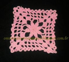 flor de quatro pétalas quadrado em croche - Pesquisa Google