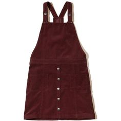 Hollister Corduroy Overall Dress ($50) ❤ liked on Polyvore featuring dresses, burgundy, racer back dress, hollister co dresses, red racerback dress, burgundy red dress and corduroy dresses
