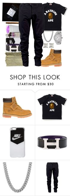 """""""Dressin Designer That Mula In Here 💰"""" by deonteking ❤ liked on Polyvore featuring Timberland, NIKE, SEN, Hermès, Sterling Essentials, Julius, men's fashion and menswear"""
