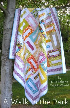 A walk in the park quilt. Uses a Jelly Roll, but I have 500+ fat quarters that need to be used.