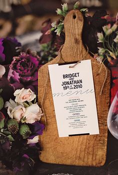 Your menu design has become a big part of your overall decor & styling for your wedding day. Today we explore creative menu designs and ideas for unique wedding menus. Wedding Menu Display, Wedding Table Place Settings, Rustic Wedding, Our Wedding, Wedding Ideas, Wedding Inspiration, Wedding Vintage, Autumn Wedding, Chic Wedding