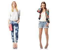 (4a) Summer Nancy Denim - (4b) Techno Rain Bomber Jacket - French Connection 2013 Spring Summer Womens Preview Collection