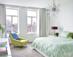 Modern White Bedroom with City Views