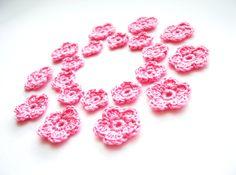 Crochet Flower ,Pale Pink, Appliques, Set of 20. $5.00, via Etsy.