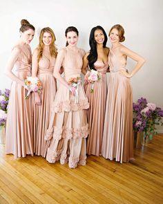 Convertible Bridesmaid Dresses - Belle the Magazine . Would solve infinite Bridesmaid dress arguments!!! Love it, so genius!!