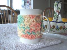 Crochet Cup Cozy - mint green, peach & cream cotton yarn, w/ 2 buttons | mountainberrystudio - Crochet on ArtFire