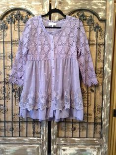 Pretty Angel Boho Lavender Lace Embroidered Sweetheart Lagenlook Tunic Top Large #PrettyAngel #Tunic #Any
