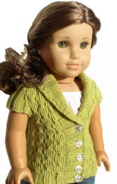 Knitting-Pattern-Olive-Cardigan-Sweater-For-American-Girl-18-Inch-Doll-Clothes