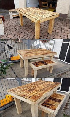 Simple stacking of the pallet planks is being adjusted in this wood pallet creation where it overall bring out the taste of the bench and table pairing for your household use. Its an open simple designed in an elegant blends. You would be loving it out for sure!