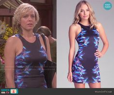 Nicole's blue and purple body-con dress with printed sides on Days of our Lives. Outfit Details: http://wornontv.net/49545/ #DaysofourLives