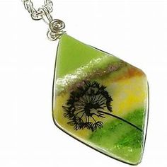 Springtime Dandelion Art Glass Fused Glass Handmade ...