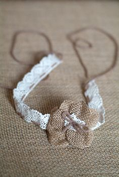 Newborn to Child Burlap and Lace Tie back Headband - Photography Prop