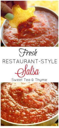 In less than 5 minutes have a delicious, flavorful, and fresh salsa to enjoy all summer. And all you had to do was press the blend button. - From Sweet Tea & Thyme Best Appetizers, Appetizer Recipes, Snack Recipes, Cooking Recipes, Veggie Recipes, Sweet Salsa, Fresh Salsa, Hummus, Pesto