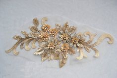 1 pc  Luxury Gold Pearl Paillette Lace Appliques Venice by lacediy