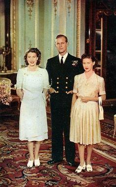 ~ Engagement to Marry. Future Queen Elizabeth II (Elizabeth Alexandra Mary) UK, Prince Phillip Duke of Edinburgh (Philip Mountbatten-born Prince Philip) Greece & Elizabeth II's sister Princess Margaret Rose of York