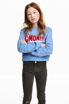 Baskılı Sweatshirt - Güvercin mavisi/C'mon!!! - | H&M TR 1