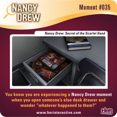 Moment from Nancy Drew: Secret of the Scarlet Hand. #NancyDrew #SSH #HerInteractive