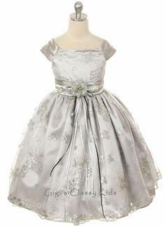 New Silver Flower Girls Dress 2 4 6 8 10 12 Pageant Easter Christmas Fancy  MK247 e2d76e0c7108