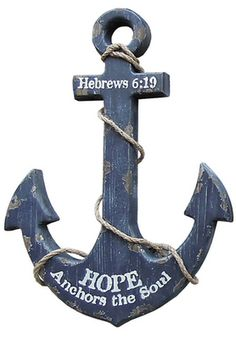 """Our Nautical Anchor Wall Art Navy is a rustic anchor wall decor that adds an instant nautical mood to your home or cottage. Distressed finish in worn navy with aged look. 12. 5"""" wide x 19"""" tall, wood anchor is trimmed with rope. Message: Hebrews 8:19 Hope Anchors the Soul Dimension: 12. 5""""W x 19""""H"""