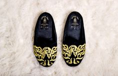 Magical Vintage Black & Gold Velvet Slippers by CellardoorSequins, $42.00