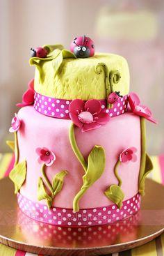 Ladybug in a garden cake