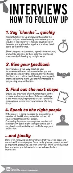 These are GREAT interview tips! Always remember to follow up! A simple thank you email or note works tremendously!