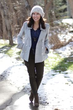 Fall to Winter outfit - knit hat, gray peacoat, olive cargo skinnies and suede booties #madeinUSA