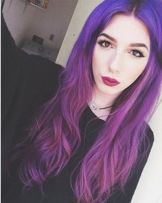 Purple two color ombre hair color choice, wonderful red purple~
