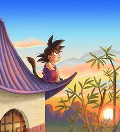 Son Goku's watching the Sunset - dragon-ball Fan Art #young #goku