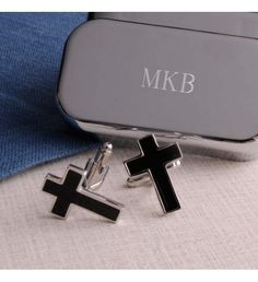 These cross-shaped cufflinks are ideal for formal weddings, religious ceremonies, or even everyday wear. Contemporary in style, they are tucked in a handsome personalized keepsake box made of lightweight plated polymer with a lovely black satin lining. Great First Communion or Confirmation gift or anyone celebrating a special religious occasion!