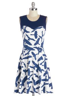 Chic Commute Dress in Birds. While youre usually in the mood for a nice chat with your neighbor on the bus ride to work, this morning youre savoring time to yourself with a cup of tea, upbeat songs pumping through your headphones, and this A-line dress from Ruby Rocks!  #modcloth
