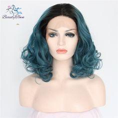 Hot verkoop! 1b blauw grote golf bob synthetische kant lijmloze cosplay hittebestendige voor vrouwen gift goedkope natuurlijke party pruik in                  & van synthetische pruiken op AliExpress.com   Alibaba Groep