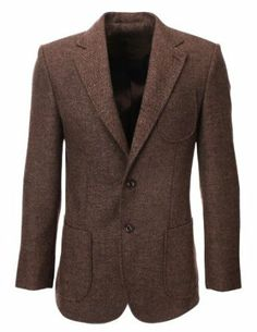 Herren Herringbone Wolle Blazer Sakko with Elbow Patches